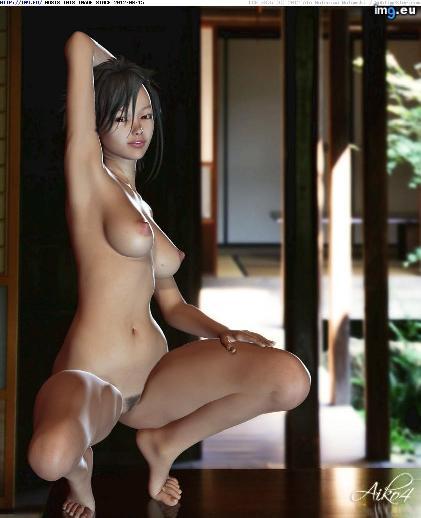 3D Asian girl squats lewdly